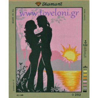 Κέντημα Ροζ Ηλιοβασίλεμα
