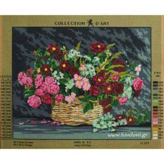 Κέντημα Καλάθι Με Λουλούδια 11581