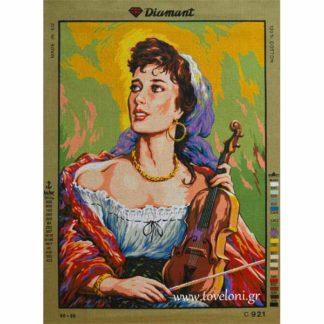 Κέντημα Γυναίκα Με Βιολί 921