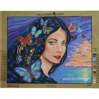 Κέντημα Γυναίκα Με Πεταλούδες 11590