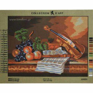 Κέντημα Βιολί Φλογέρα Φρούτα 10331
