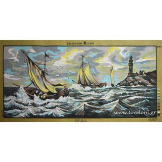 Κέντημα Βάρκες Στην Θάλασσα 13921